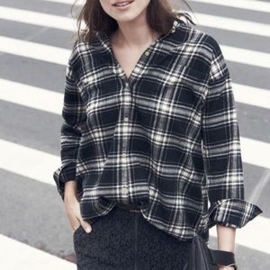 MADEWELL Flannel Trapeze Overcast Plaid Shirt XS